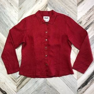 NWT FLAX Red Linen Button Down Blouse Small